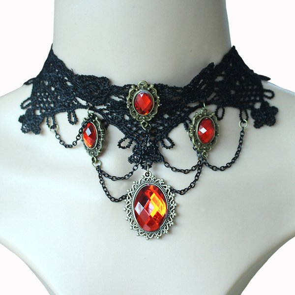 whole saleExaggerated 2017 New Crystal Gothic Vampire Lace Female Neck Choker Necklace Europe United States Wind Clothing Accessories