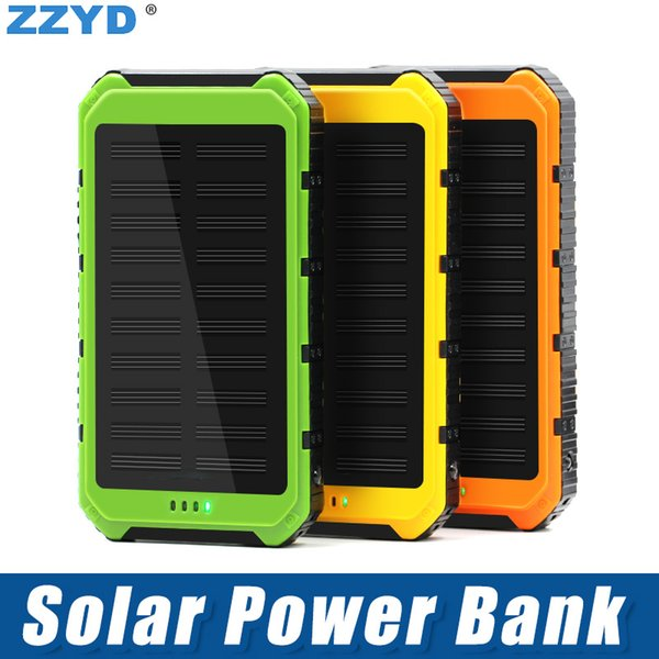 top popular ZZYD Portable 4000mAh Solar Power Bank Dual USB External Battery Pack Waterproof Led Charger For iP 7 8 Samsung S8 Note 8 2019