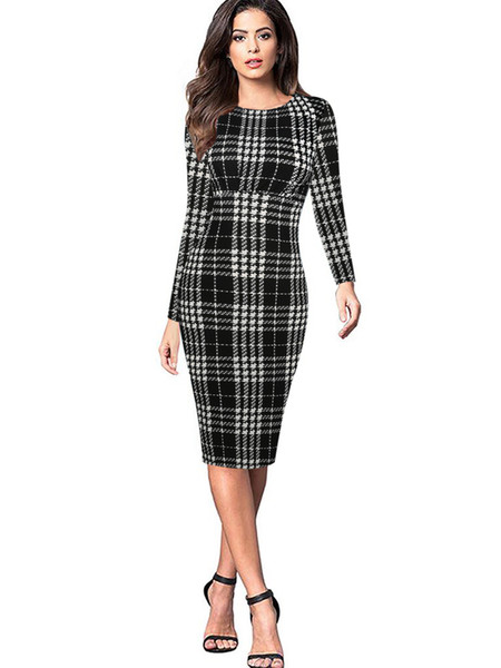 2018 European and American spring new simple round neck long sleeve plaid graffiti knees folds casual waist women's dress