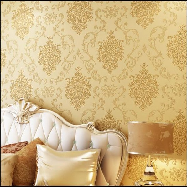 10m*53cm classic wall stickers wall paper Luxury fashion wallpaper non-woven fabric covering fashion tv bronzier