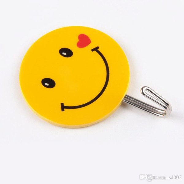Emoji Smile Stainless Steel Hook No Trace Cartoon Pothook For Bathroom Accessories Strong Adhesive Hooks For Home Home Decor 1 17zx ZZ