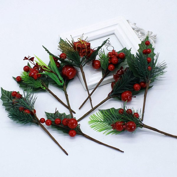 Artificial Christmas mixed Holly Pine berries Flower Stamens Pearl Branches DIY Party Wedding Decoration Gift Box *Free Shipping*