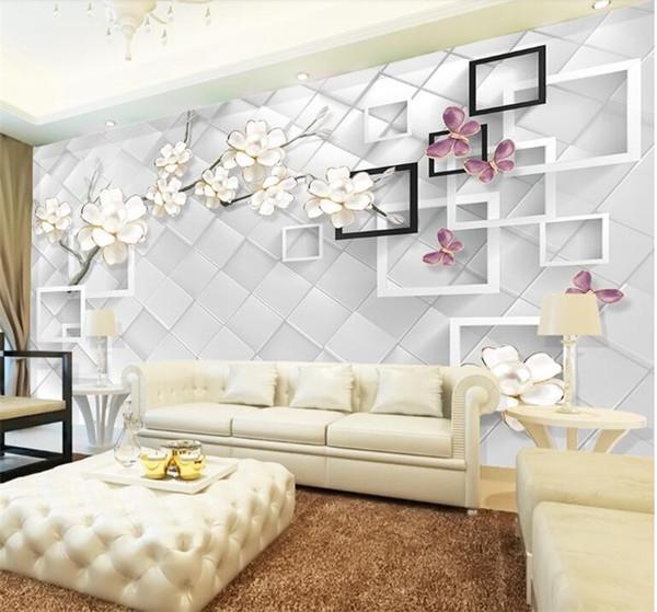 Custom 3d Photo Wallpaper White Flower Jewelry 3d Tv Background Modern Design Wall Mural Non Woven Wallpaper Living Room Bedroom Wallpaper Best Hd