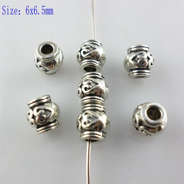 200 pcs Prata Tibetana 6x6.5mm Coração Forma Grão Linha Solta Spacer Beads Charme Jóias Acessórios para Artesanato Fazer
