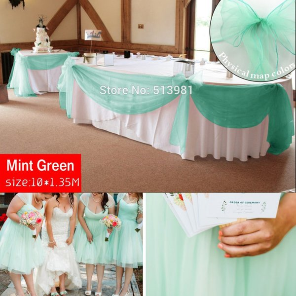 Promotion Mint Green 10M *1.35M Sheer Organza Swag Fabric Home Wedding Decoration Organza Fabric Table Curtain ,Hq Free Shipping