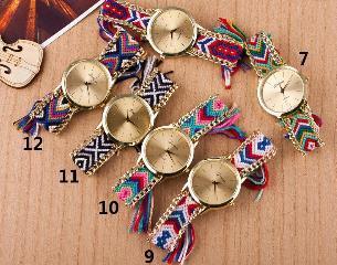 2018 New Arrival National Wind Knitting Women's Hand Chain Watch DIY Handmade Knitting Wool Chain Geneva Watch