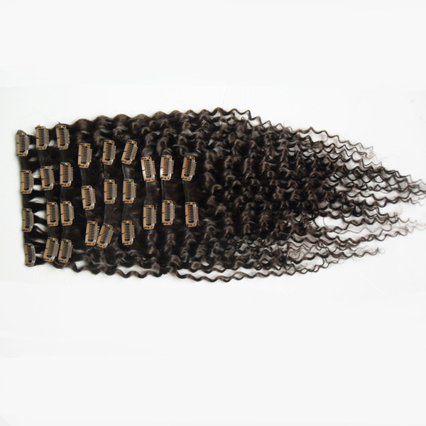 Brazilian Kinky Curly Hair Clip in Human Hair Extension Full Head 100g 9pcs African american clip in human hair extensions