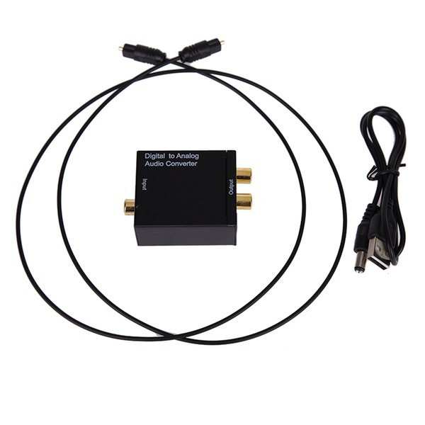 hot sale Digital Optical Coaxial Toslink To Analog RCA L/R Audio Digital Converter Adapter DC 5V /1A with USB Cable for TV Box