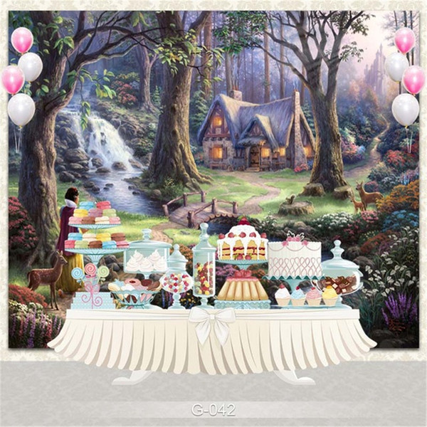 Princess Girl Birthday Party Photography Backdrops Fairy Tale Printed Trees River Cottage Castle Forest Scenic Kids Photo Studio Backgrounds