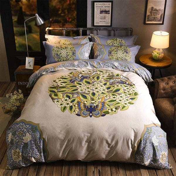 Luxury 100% Cotton Wedding Bedding 4PCS Bedding Sets comforter cover floral bedclothes AB Side bedlinen pillow cover bed sheet