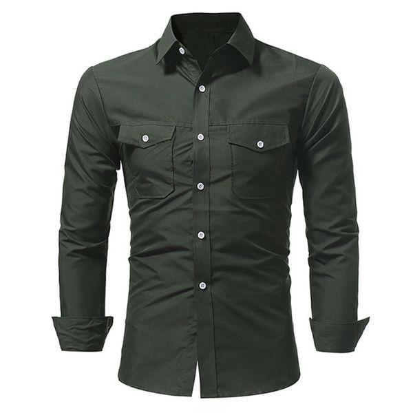 Army Green Male Slim Shirts Autumn Long Sleeve Tops Boy Club Clothes Handsome Boys Casual Blusa Korean Style Pocket Decor Blouse