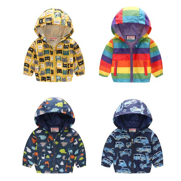Bodecin İlkbahar ve Sonbahar çocuğun Ince Uzun Kollu Ceket bebeğin Dinozor / Jeep / Kedi / Yıldız Baskılı Kapşonlu Coat çocuk Giysileri