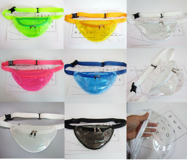 top popular 50pcs 2018 New PVC Candy Transparent Women Waist Pack Unisex Fanny Waist Bag Chest Pack Travel Outdoor 2020