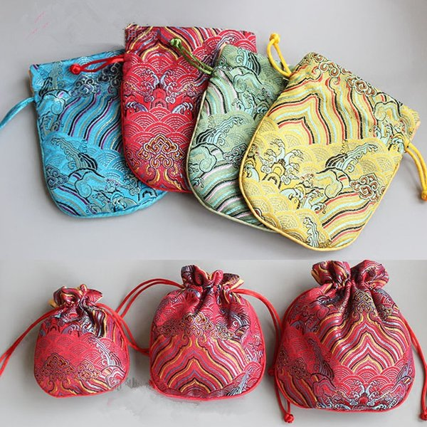 Seawater Small Chinese Silk Jewelry Pouch Drawstring Fabric Gift Bag Vintage Cute Packaging Bags with lined 50pcs/lot size 10.5 x 12.5 cm