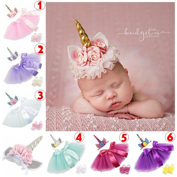 Baby 3pcs set Newborn Tutu Skirt + Unicorn Headband + Foot Flower photography props Baby Girls Birthday gift Outfit