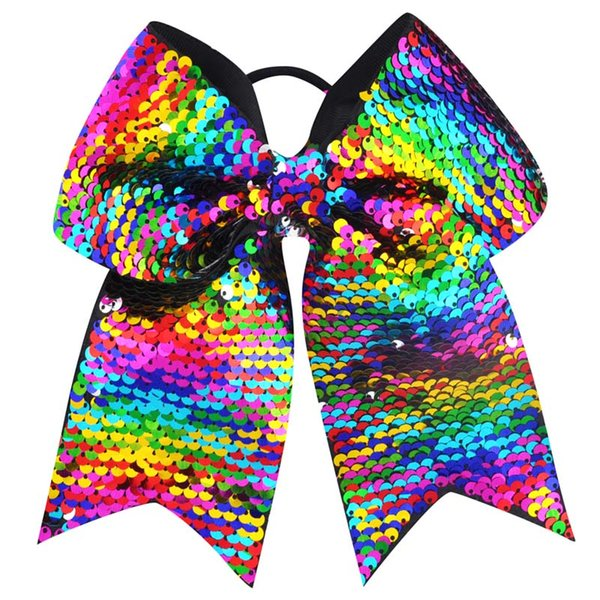 9pcs 8 Inch Double-faced Mermaid Sequins Large Cheer Bow Elastic Hair Band Grosgrain Ribbon Cheerleading kid Girl Hair Accessories