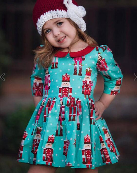 Girls Christmas Dress Boutique Kids Clothing Long Sleeve Party Dress Baby Girl Clothes Xmas Cartoon Baby Dress Children Toddler Clothing