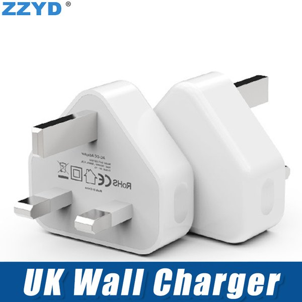 ZZYD For Samsung S7 Note8 iP8 Xs Max UK 3 Pin Mains Charger Adapter Plug 5V 1A UK USB Wall Adapter
