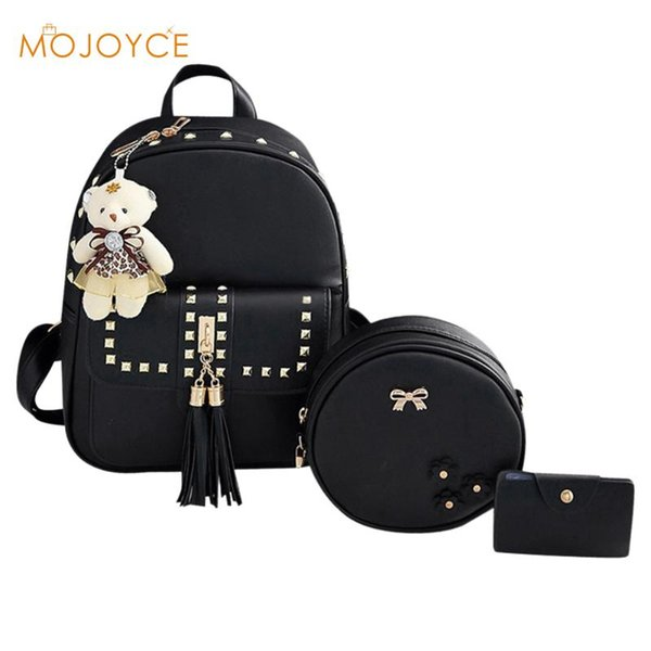 Ta el women backpack 3pc et pu leather backpack for girl ac a do femme mochila mujer female chool houlder bag new de ign