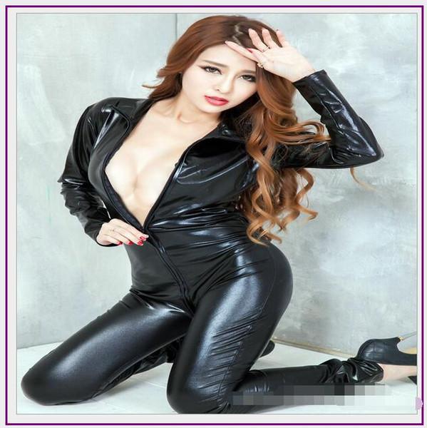 Hot Sexy Lingerie Latex Pvc Dress Jumpsuit Zentai Costume Women Black Catsuit Pole Dance Clothes Clubwear Bodysuit Game Uniforms