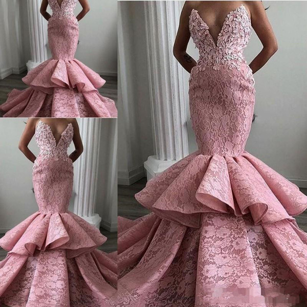 Dusty Pink Lace Prom Dresses Sexy Sweetheart Mermaid Evening Gowns Ruffles Tiers Women Formal Party Dress Vestidos Custom Made