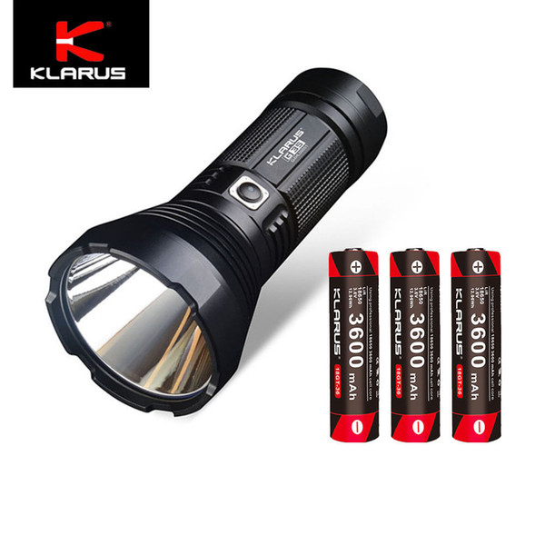 Klarus G35 2000lm Cree LED 1000M dual-switch Flashlight w/3x18650 3600mAh batt