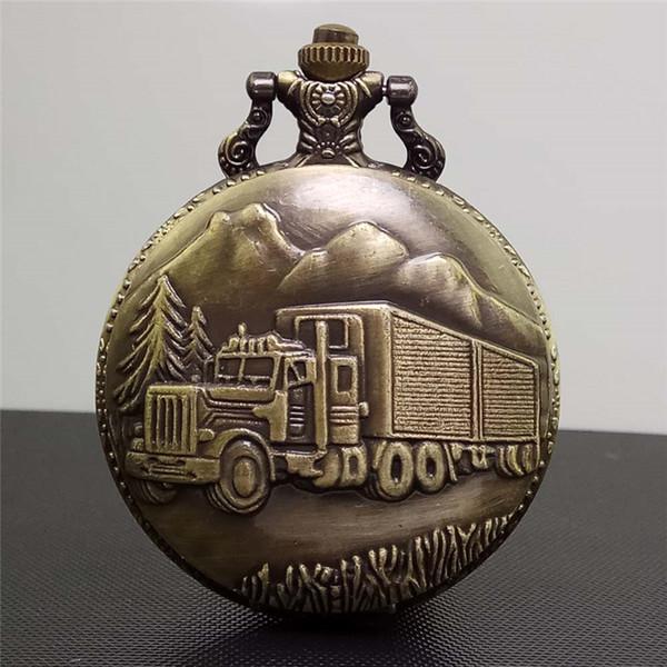 Retro Büyük Orman Araba Steampunk Kuvars Pocket Watch Antik Bronz Kamyon Erkek Kadın Kolye Kolye Saat Zinciri Ile