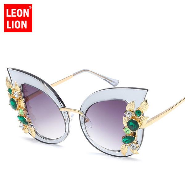 480dfeea41e4d LeonLion 2018 Grande Quadro de Olho de Gato Óculos De Sol Das Mulheres de  Metal Retro