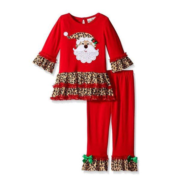 Bebek Noel Leopar Kıyafetler 12 Tasarımlar Giyim Setleri Noel Baba Ağacı Elk Yay Çizgili Noktalar Kemer Patchwork Aplike Oyalamak Kız Pijama