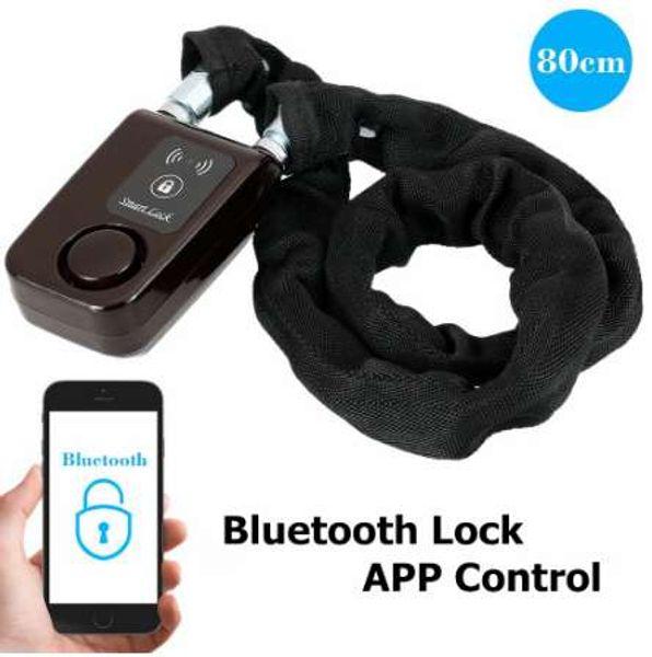 top popular Bicycle Smart Alarm Bluetooth Locks Phone APP Control Anti Theft 105dB Alarm Chain Lock for Bike Motorcycle 2021