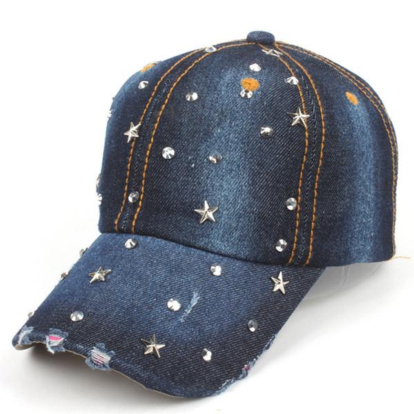 2017 LGFD38 Mujeres denim cap sombrero de vaquero venta al por mayor estrella de cinco puntas taladro caliente Rhinestones gorra de béisbol de algodón