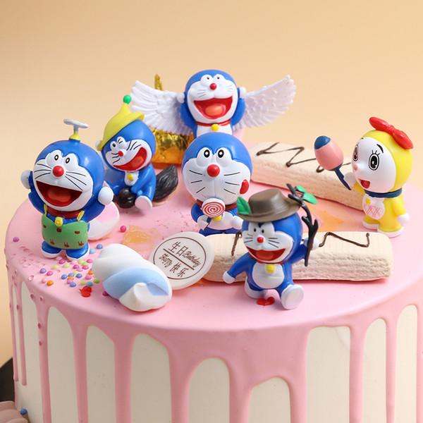 6pcs/set Anime Cartoon Cute Doraemon With Wings Mini PVC Figure Model Doraemon cake topper for cake decoration