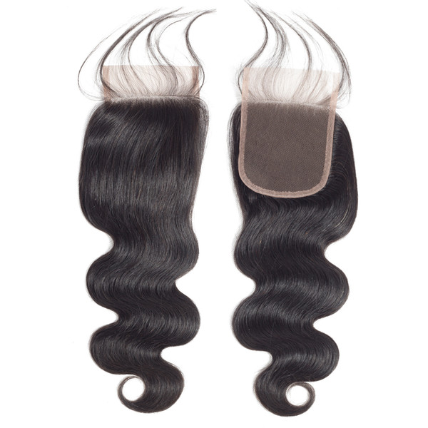 Bestsojoy Hair Brazilian Virgin Body Wave Lace Closure 4*4 Swiss Lace Closure 100% Hand-Tied High Quality Closure With Baby Hair