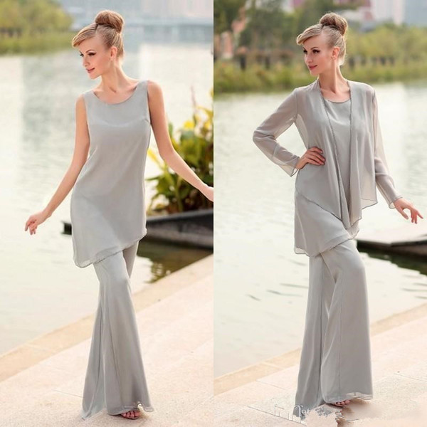 2019 Gray Three Pieces Grey Mother's Pants Suits Beaded Long Chiffon Formal Mother of the Bridal Suits with Long Sleeves Jacket