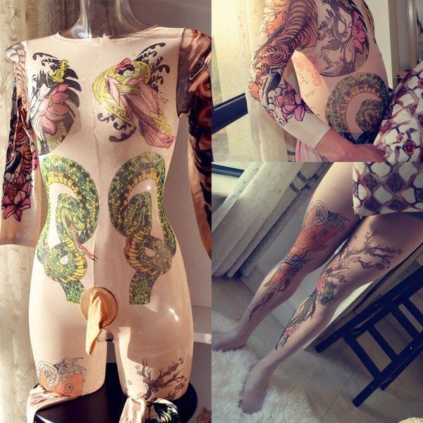 Frauen Männer 10D Unisex Body Over Tattoo Print Leopard Bodyhose Samt mit offenem Schritt Long Sleeve Full Bodystocking
