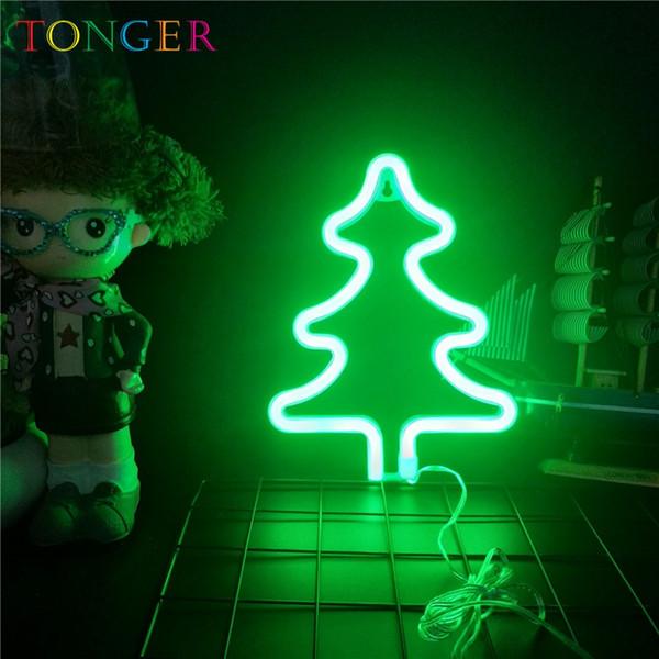 TONGER LED Nachtlampe Batterie Neonlicht-Zeichen Wandleuchte Dekor Weihnachtsbaum Festzelt Beleuchtung Dekoration Kinder Geschenke Neon Name