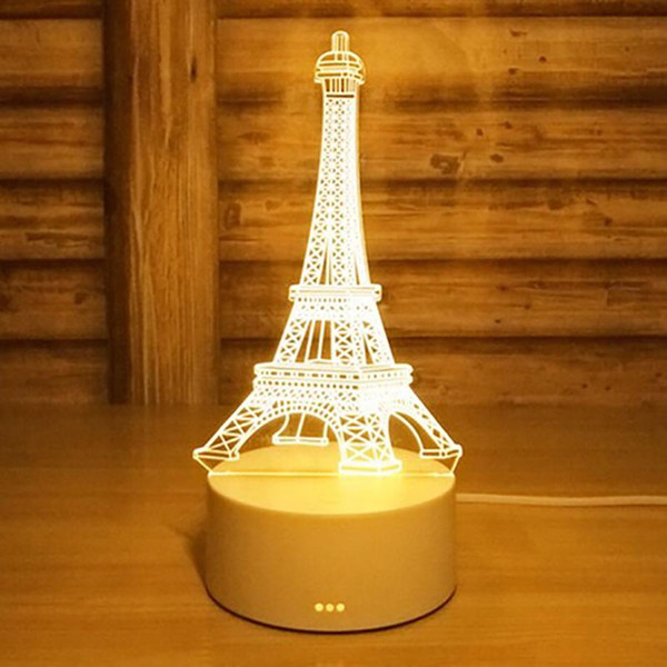 DC 5V Eiffel Tower 3D Acrylic LED Night Light 7 Color Change Desk Table Lamp Christmas Birthday Gift Valentine's Day