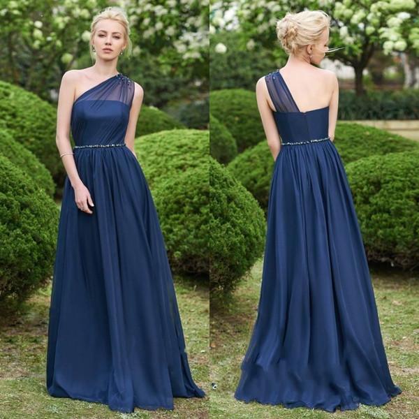 Compre Precioso Vestido De Dama De Honor Azul Marino De Un Solo Hombro Vestido Largo De Gasa 2019 En Línea Vestidos De Dama De Honor Vestido De Noche