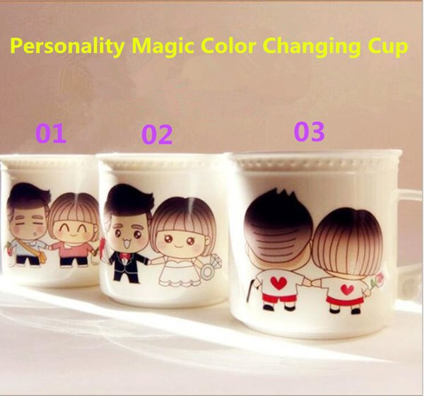 Mugs Bone China Cups Couple Cups Color Changing Cup Coffee Cup With Spoon Single Layer Cylindrical Personality Magic Spoon Cups Holiday Gift