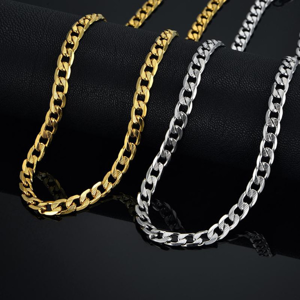 whole saleHiphop Gold Chains For Men/Women Jewelry 7MM Chains Collier Gold Color Stainless Steel Cuban Link Chain Necklace XL5742