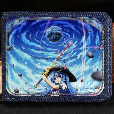 Project wallet Hinanai Tenshi purse New cartoon game short cash note case Money notecase Leather burse bag Card holders