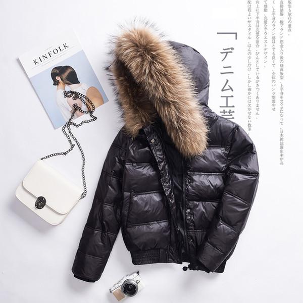 Großhandel Neue Frauen Weiße Ente Daunenjacke Winter Warme Große Pelzkragen Mit Kapuze Kurze Daunenmantel Weibliche Beiläufige Dünne Parkas Outwear