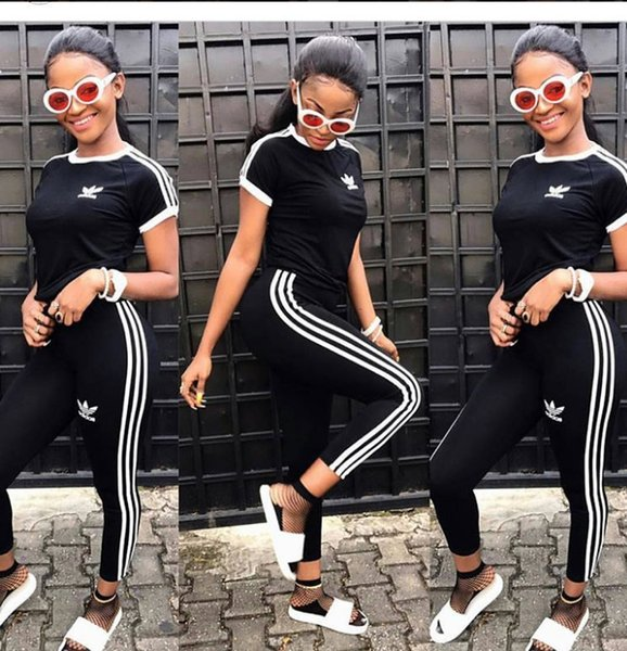 AD Print Women Short Sleeve Tracksuit Summer Fashion Breathable Sports Suit With Long Pants Pullover Shirts 2pcs Running Yoga