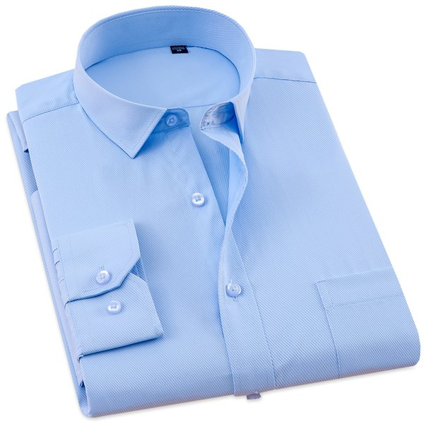 XS-7XL Brand Men Dress Shirts Mens Slim Fit Casual Shirt Twill Solid Color Formal Social white Blue pink Shirt Easy Care