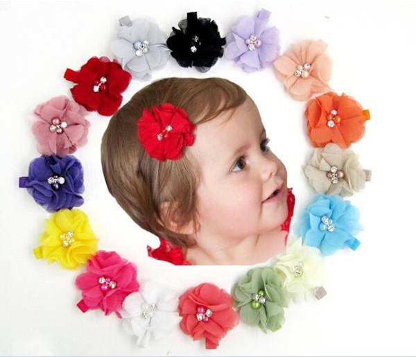 300 pcs bebê Chiffon Flores Com Pérola Strass Centro Artificial Flor Tecido Flores Crianças grampos de Cabelo R231