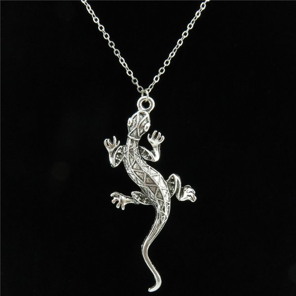 whole saleFree shipping R2226 Vintage Silver Chain Alloy Men Animal Cabrite Lizard Pendant Choker Necklace 18