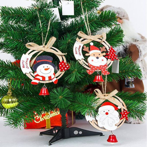 2019 New Year Wood Christmas Decorations Pendant Round Shape with Burlap Rope Bow and Mini Bell Colorful Painted