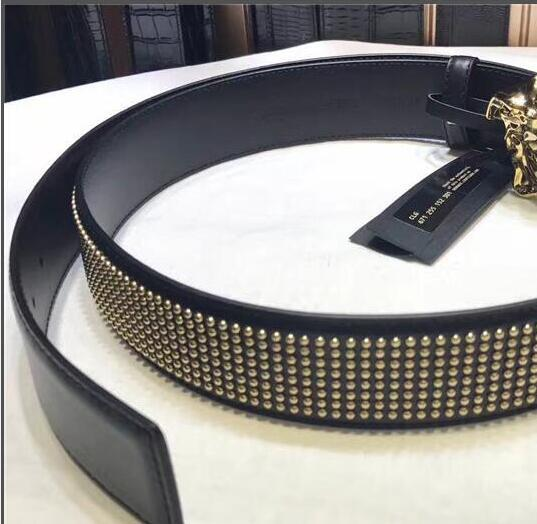 HOT fashion designer top quality men and women girdle% leather, gold and silver head buckle, rivets body, free shipping + with box