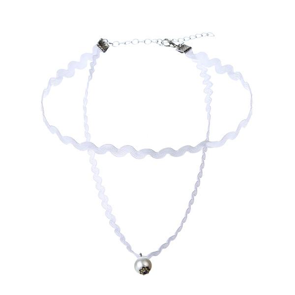 Nouveau produit Hot Fashion Le Collier Dentelle Blanc Double élégante Choker Lady cadeau Making Bijoux