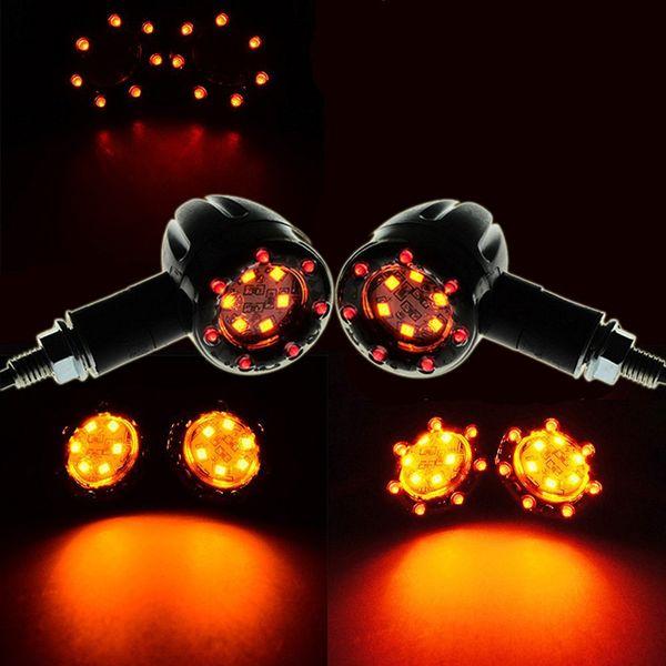 top popular 2pcs Universal Motorcycle Turn Signal Light Indicator Lamp Red + Amber LED color Brake Stop Light 2021